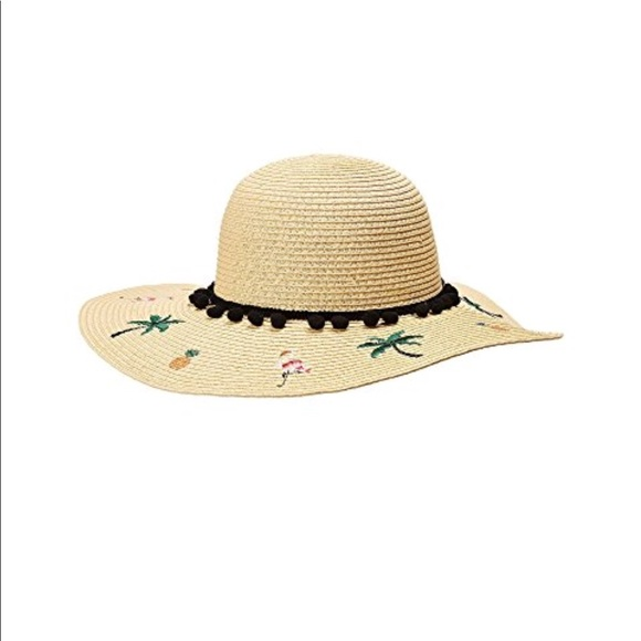 NWT Betsy Johnson Flamingo Floppy Hat W Pompoms 80ea40ec8447